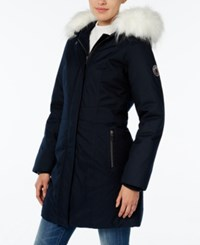 Wildflower Hooded Faux Fur Trim Parka Only At Macy's Midnight Blue