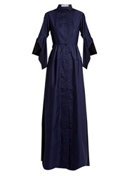 Palmer Harding Flounce Sleeve Cotton Dress Navy