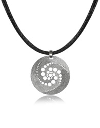 Stefano Patriarchi Silver Etched Crop Circle Round Pendant W Leather Lace Gold