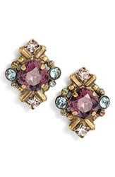 Sorrelli Shielded Crystal Stud Earrings Purple Multi