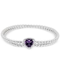 Macy's Amethyst 1 3 4 Ct. T.W. And Diamond Accent Two Row Beaded Stretch Bracelet In Sterling Silver Purple