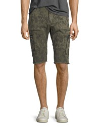 True Religion Touring Camouflage Print Moto Shorts Green