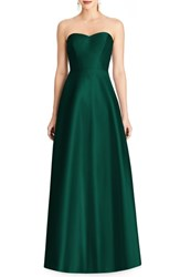 Alfred Sung Strapless Sateen Gown Hunter