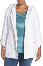 Plus Size Women's Ellen Tracy Roll Sleeve Sailcloth Anorak White