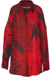 Raquel Allegra Cutout Printed Silk Chiffon Blouse Red