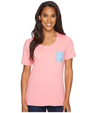 Columbia Harborside Pocket Tee Lollipop Harbor Blue Dot Gingham Women's Short Sleeve Pullover Pink