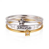 Lee Renee 'Shine Like A Star' Stack Ring Gold Silver