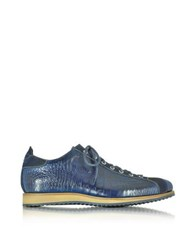 Forzieri Italian Handcrafted Indigo Blue Suede And Croco Print Leather Sneaker