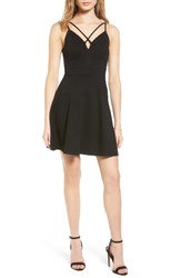 Soprano Women's Strappy Skater Dress Black