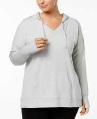 Ideology Plus Size V Neck Hoodie Created For Macy's Grey Whisper