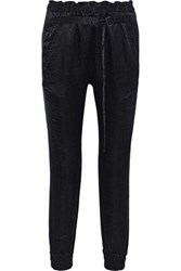Ann Demeulemeester Woman Crushed Satin Track Pants Black