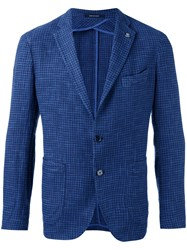 Tagliatore Houndstooth Blazer Men Cotton Linen Flax Viscose 46 Blue