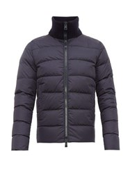 Herno Chamonix Ribbed Neck Quilted Down Coat Navy