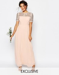 Maya Chiffon Maxi Dress With Embellishment Nude Angel Wing Pink