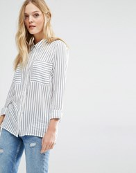 Y.A.S Fast Shirt In White Stripe White And Black Multi