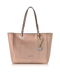 Michael Kors Walsh Large Fawn Saffiano Leather Ew Top Zip Tote Pink