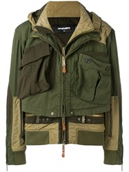 Dsquared2 Double Panel Hooded Bomber Jacket Green