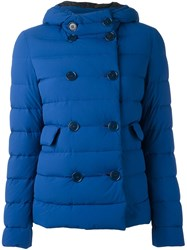Aspesi Double Breasted Hooded Jacket Blue