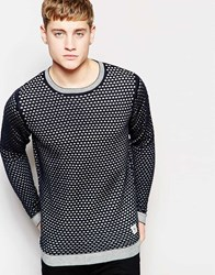 Bellfield Knitted Jumper With All Over Print Blue