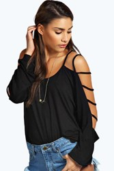 Boohoo Strappy Sleeve Loose Fit Top Black