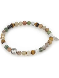 Eton Multi Coloured Bead Bracelet Offwhite Brown