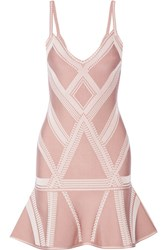 Herve Leger Stretch Jacquard Knit Mini Dress Blush