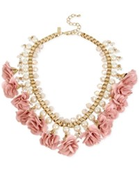 Inc International Concepts M. Haskell For Gold Tone Imitation Pearl And Flower Statement Necklace Only At Macy's