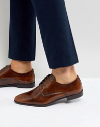 Asos Brogue Shoes In Tan Leather Tan