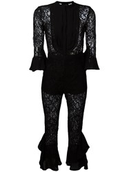 Christian Pellizzari Floral Lace Jumpsuit Black