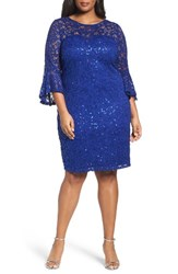 Marina Plus Size Women's Sequin Lace Bell Sleeve Dress