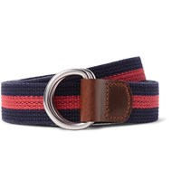 J.Crew 3Cm Burnished Leather Trimmed Striped Cotton Belt Midnight Blue