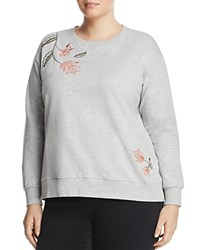 Vince Camuto Plus Embroidered Sweatshirt Gray Heather