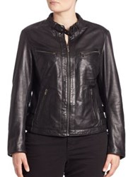 Slink Jeans Plus Size Leather Moto Jacket Black