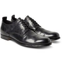Officine Creative Mono Distressed Leather Derby Shoes Black