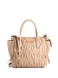 Miu Miu Matelasse Small Zip Tote Cream Black