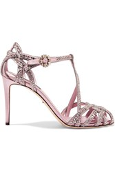 Dolce And Gabbana Keira Crystal Embellished Satin Sandals Pink