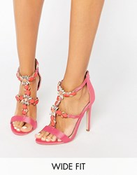 Asos Henderson Wide Fit Embellished Heeled Sandals Coral Pink