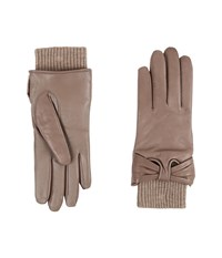 Ugg Smart Leather Gloves W Knit Bow Trim Stormy Grey Two Tone Extreme Cold Weather Gloves Beige