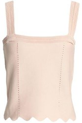 Sandro Cropped Scalloped Cady Top Pastel Pink