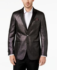 Tallia Men's Big And Tall Slim Fit Black Sparkle Peak Lapel Dinner Jacket
