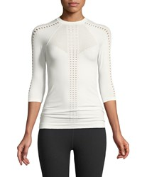 Varley Oliver Crewneck 3 4 Sleeve Perforated Jersey Top White