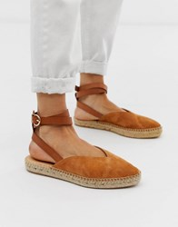 Office Faris Tan Suede Espadrilles With Ankle Strap Beige