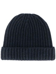Pringle Of Scotland Ribbed Knit Beanie Blue