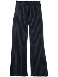 Alexander Wang T By Cropped Pinstriped Trousers Women Cotton 0 Blue