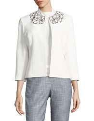 Nipon Boutique Floral Crepe Jacket Vanilla