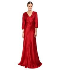 Alberta Ferretti 3 4 Sleeve V Neck Satin Gown Ruby Women's Dress Red