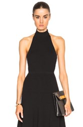 Rosetta Getty Ribbed Mock Neck Halter Top In Black