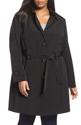 Gallery Plus Size Women's Silk Look Belted Trench Coat