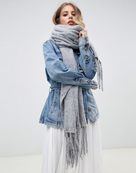 Free People Jaden Ribbed Fringe Blanket Scarf Grey