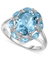 Victoria Townsend Blue Topaz W Marquise Border 5 Ct. T.W. Split Shank Ring In Sterling Silver